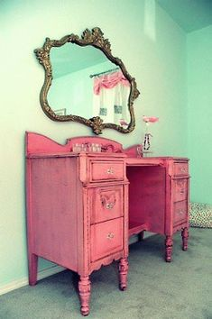 Love this look. paint an old desk and add a prettty mirror and boom! Easy vanity project