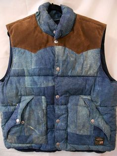 New Denim and Supply Ralph Lauren XL Denim Patchwork Print Puffer Vest Nwt