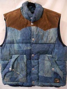New Denim and Supply Ralph Lauren XL Denim Patchwork Print Puffer Vest Nwt