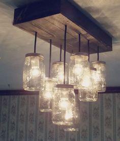 ONSALE ! lustre 12 lumière mason jar, conserve, pot lumineux, luminaire suspendu, mason jar léger, lustre rustique