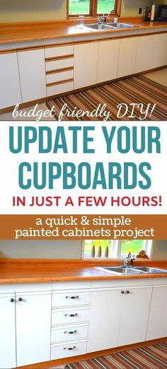You don't have to throw them out! Update European cupboards with this simple painted cabinets idea. It's a super budget friendly step for a kitchen remodel. Cupboard Doors Makeover, Kitchen Cupboard Doors, Door Makeover, Cupboard Storage, Diy Cupboards, Diy Kitchen Cabinets, Painting Kitchen Cabinets, Home Goods Decor, Diy Home Decor Projects