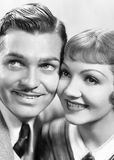 Clark Gable and Claudette Colbert photographed for It Happened One Night (1934)