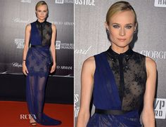 Diane Kruger In a cobalt and black Jason Wu collared gown