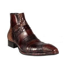 exotic+dress+shoes+for+men | Jo Ghost Mens Shoes Brown Zip-Up Exotic Skin Boots 1336 (JG1561)