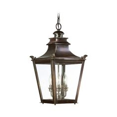 Troy Lighting Outdoor Hanging Light with Clear Glass in English Bronze Finish | F9498EB | Destination Lighting