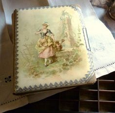gentle maid and her doves antique photo album.