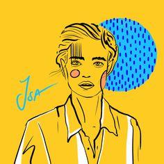 #abstractart #digitalart #illustration #comicart #stripes #woman #color #comic #body #stroke #portrait #yellow #isa #portrait #dots