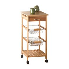 Need a little extra storage in the kitchen? This great piece will move with you or move out of the way! Small Gourmet Kitchen Cart