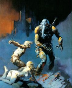 Humanoid elephant attacking two barbarians, by Frank Frazetta