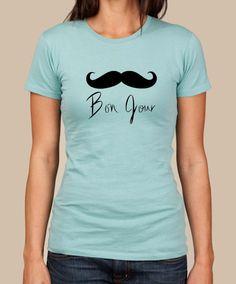 bd789cf9 Blusen, Tops & Shirts FUNNY FRENCH GROWTH STASH COOL LADIES UNISEX BONJOUR  MOUSTACHE T-SHIRT