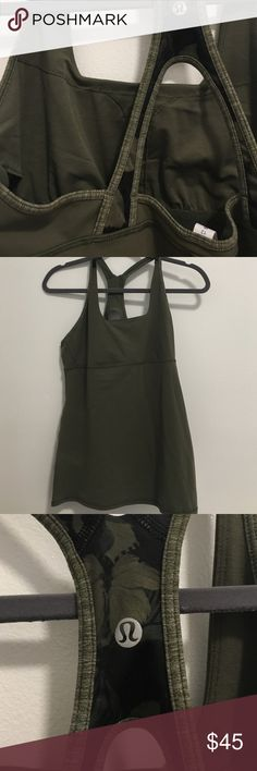 NWT Satnam Green Lululemon Top NWT! great olive green work our top. has built in bra but does not have padding lululemon athletica Tops Tank Tops