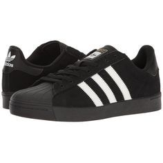 adidas Skateboarding Superstar Vulc ADV (Black/White/Black) Skate... (250 BRL) ❤ liked on Polyvore featuring shoes, sneakers, adidas, zapatos, black and white skate shoes, skate shoes, white black shoes and black white shoes