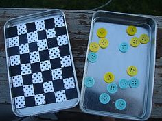 Make crayon/paper holder and small checkers game out of Altoid tin