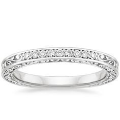 18K White Gold Delicate Antique Scroll Ring, top view