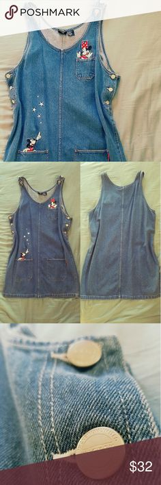 90's Vintage Mickey and Minnie Jumper! Jean Jumper from the 90's featuring Mickey and Minnie Mouse by Mickey Unlimited    Rare vintage piece,  really unique.  Would look super cute with some tights and funky boots.   Says size XL on tag, but it fits a modern size Large in my opinion.    Always accepting reasonable offers!  20% off bundles of 2 or more for a limited time!    Tags Grunge goth alternative denim 90s 1990 vintage retro jumpsuit romper jean dress disney unusual collectors pastel…