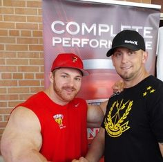 "BYFB owner Troy B. and IFBB Pro James ""Flex"" Lewis at the Fox City Showdown - 04/26/2014"