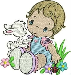 B O R D A D O S E R V I C E: INFANTIL Baby Embroidery, Ribbon Embroidery, Machine Embroidery Designs, Embroidery Patterns, Baby Animals Pictures, Janome, Vintage Flowers, Free Design, Quilts
