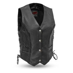 The Trintiy leather vest is made of soft milled cowhide. This vest features thick braiding on the seams and side lacing for a more feminine look. The 2 hip pockets are perfect for carrying personal items. This vest will have you looking great o. Motorcycle Vest, Biker Vest, Leather Vest, Cowhide Leather, Lady Biker, Outdoor Outfit, Braided Leather, Stylish, Clothes