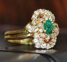 18K Emerald and Diamond Fashion Ring