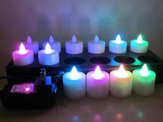 Multicolor LED Rechargeable Tea Light Candles