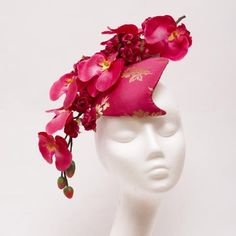 Orchid Inspired Millinery Hats, Fascinator Hats, Red Hat Club, Church Hats, Fancy Hats, Floral Headpiece, Pink Hat, Love Hat, Red Hats