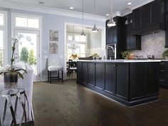 Hardwood flooring in style Rockbridge - the perfect compliment to your modern rustic kitchen - by Shaw Floors Home Decor Kitchen, Rustic Kitchen, Home Kitchens, Kitchen Ideas, Craftsman Kitchen, Kitchen Black, Shaw Hardwood, Hardwood Floors, Wood Flooring