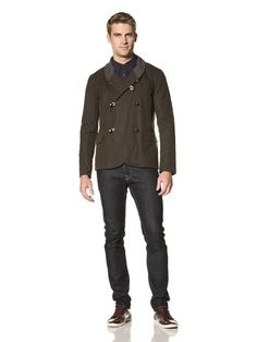 65% OFF Common People Men\'s Wax Cotton Jacket (Olive)