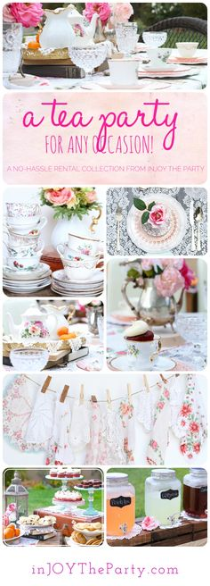 Who doesn't love a Tea Party?!! This entire High Tea Collection is ready to rent. Just tell us how many guests, and we do the rest! Dinnerware, tea sets, flatware, flowers, vintage centerpieces, serving trays, cake platters, & linens included! Perfect for a baby shower, bridal shower, or birthday celebration!