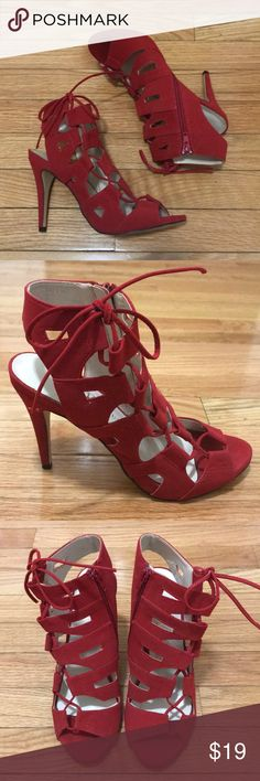 Red Rock & Republic strapless stilettos Only wore these bad boys once for a military ball.! Haven't found a reason to wear them again. Rock & Republic Shoes Heels