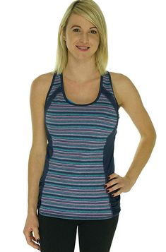 65406505382128 Ideology Women s Striped Ruched Racerback Tank Top (True Turq Melan).  Built-in sports bra