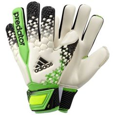 football goalkeeper glove for the predator. material: •68% latex / 32% elastane foam prons and cons: This predator goalie gloves .. Are great I like them it fits perfect ..last time I bought Nike gloves but I dislike them .. I prefer Adidas goalie gloves..they feel great more control on the ball .