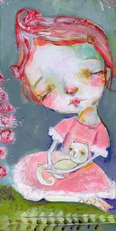 Joy of Gratitude fur-soul 6x12 original by mindylacefield on Etsy