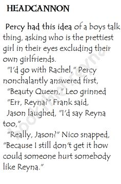Heroes of Olympus Headcannon. Percy's idea of boys talk with Nico.<<< WHY I DIDNT EED THIS IN MY LIFE
