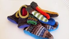 upcycled wool slippers and mittens