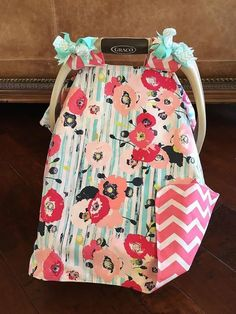 MOD Baby Car Seat Covers Coral Teal Hot Pink and by kitcarsonblue