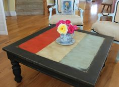 I have a very similar table http://www.redouxinteriors.com/2011/08/the-french-answer-to-the-union-jack-trend/