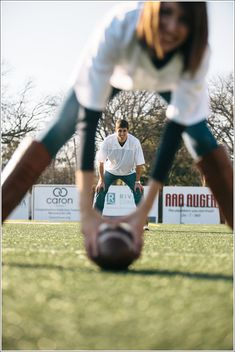 football themed engagement photos -