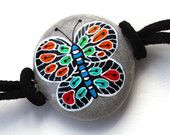 Hand Painted Stone Butterfly Bracelet