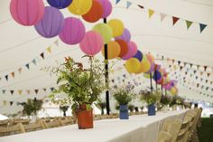 White Stretch tent with long tables and colorful lanterns and bunting Party Tent Decorations, Birthday Decorations, Outdoor Decorations, Festival Decorations, Wedding Bunting, Marquee Wedding, Hanging Tent, Anniversary Parties, 50th Anniversary