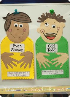 Odd Todd and Even Steven. Tell story of Even Steven and Odd Todd: Even Steven likes everything to be equal and fair.  The number in his Left hand must be the same as the number in his Right hand.  Odd Todd doesn't like things to be fair, he doesn't care if his friend has less snack than he does. Children give a number.  Count it out with food/cubes and share into the hands of Even Steven.  If numbers in each hand are not the same - number goes to Odd Todd!