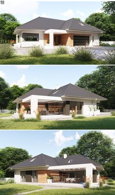 Projekt dużego, reprezentacyjnego domu parterowego z zacienionymi tarasami. 4 Bedroom House Designs, Bungalow House Design, Small House Design, Modern House Design, Dream House Plans, Modern House Plans, Small House Plans, Modern Bungalow Exterior, Town Country Haus