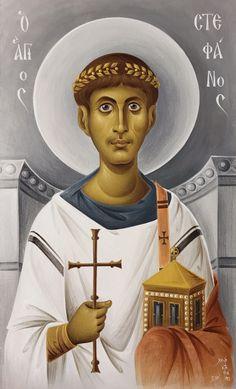 Άγιος Στέφανος Saint Stephen, Byzantine Art, Orthodox Icons, Sacred Art, Religious Art, Folk Art, Russia, Movie Posters, Santos