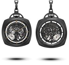 Panerai Tourbillon GMT Ceramic Pocket Watch (PAM 446)    59mm black ceramic case, skeltonized hand-wound Panerai P.2005/S caliber (power reserve 6 days, 277 parts), comes on black ceramic chain