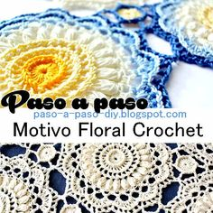 tutorial en fotos de motivo floral al crochet