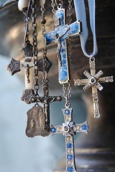 """Symbolism: A cross or crucifix is another part of the """"Sick Call Set"""" and it is customary to have one on display at the time of anointing. The sick join themselves and their sufferings to the passion and death of Christ. Religious Icons, Religious Jewelry, Religious Art, Religious Images, Old Rugged Cross, Sign Of The Cross, Holy Rosary, Shades Of Blue, Old Things"""