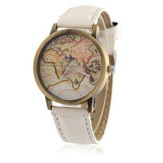 Watches Women Fashion Denim Leather Wristwatch Map Airplane Watches Men Quartz Watch Personality Casual Vintage Relogio W1016