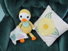 crocheted duck w blankey for Zackery Lee, his bothers told me he was too big for a baby toy. Embroidered pillow sold.