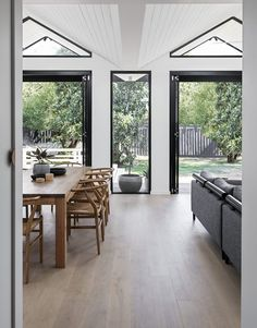 With a folded roof form and charred timber cladding, Pleated House has plenty of flair for its design-conscious owners. Living Area, Living Spaces, Living Room, Steel Doors And Windows, Weatherboard House, Interior And Exterior, Interior Design, Exterior Paint, Clerestory Windows