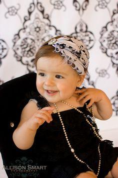 baby headband girls feather white with black edges bling rhinestone on ruffled elastic all sizes ready to ship