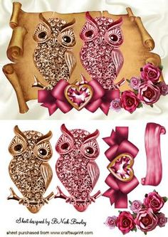 ROMANCING DIAMOND OWLS WITH ROSES ON A SCROLL on Craftsuprint - Add To Basket!